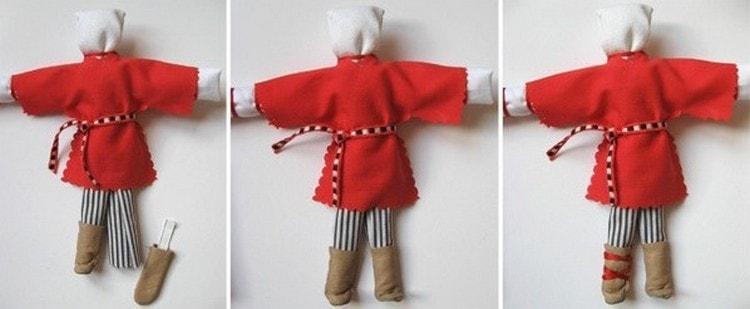 Для куклы-парня делаем сапожки.