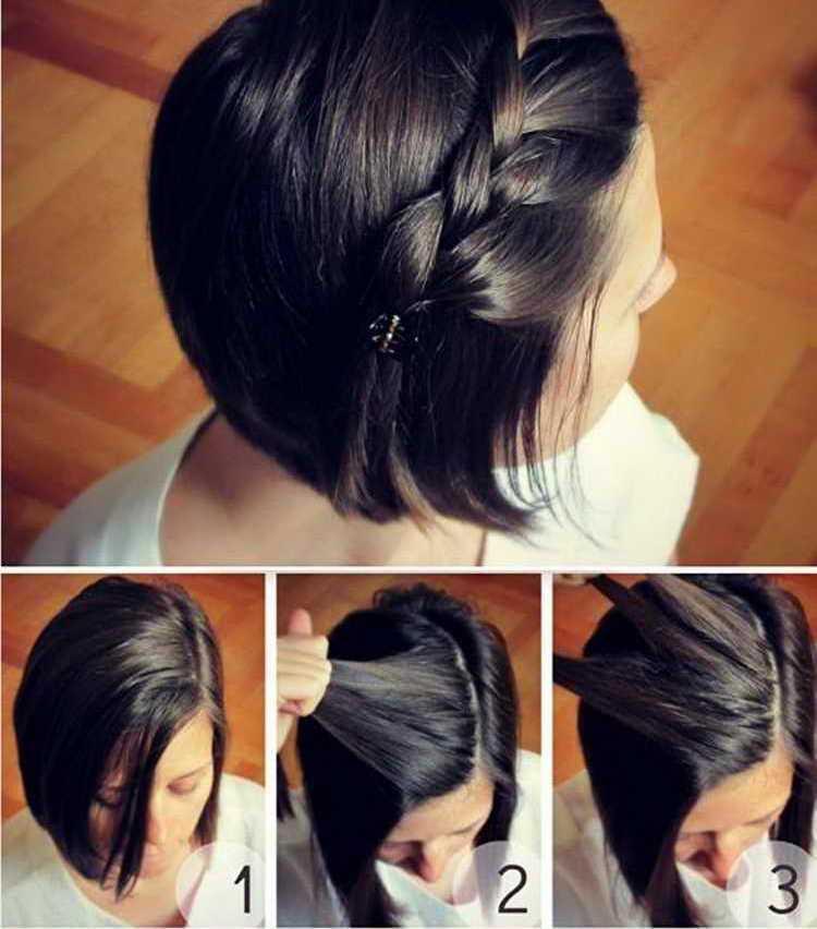 Ободок-косичка на короткие волосы
