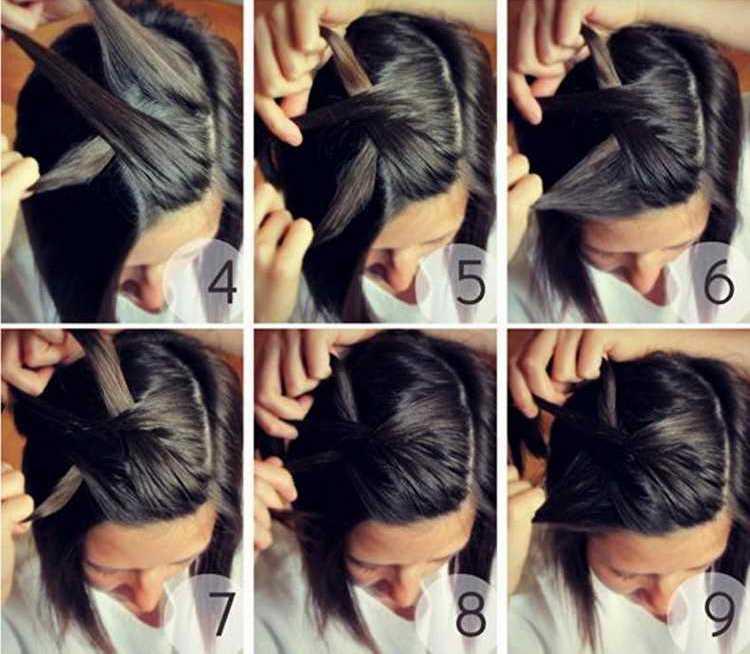 Ободок-косичка на короткие волосы для девочек