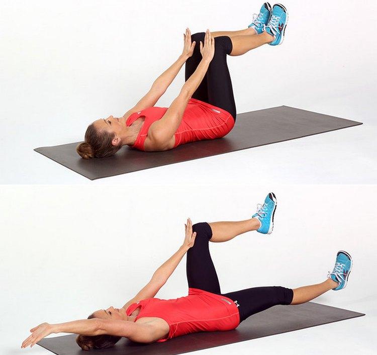 Это упражнение не только убирает живот и укрепляет пресс, но положительно действует на мышцы ног и ягодиц.