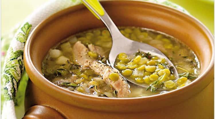 суп гороховый с копчеными ребрышками: калорийность