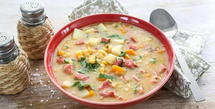 калорийность горохового супа на мясном бульоне