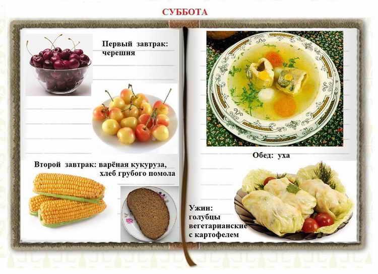 раздельное питание для похудения суббота