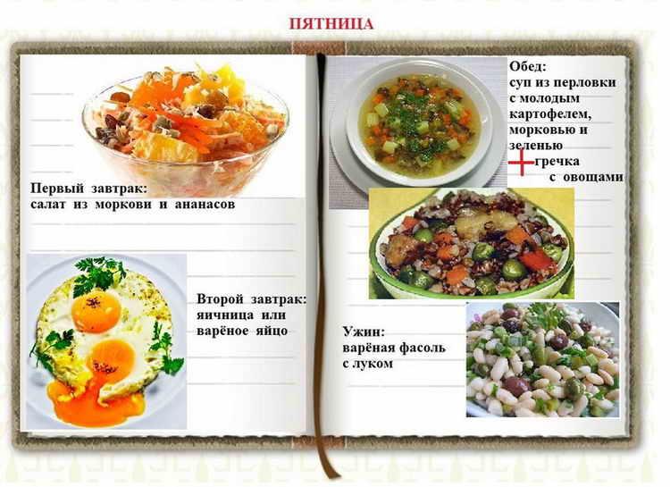 раздельное питание для похудения пятница