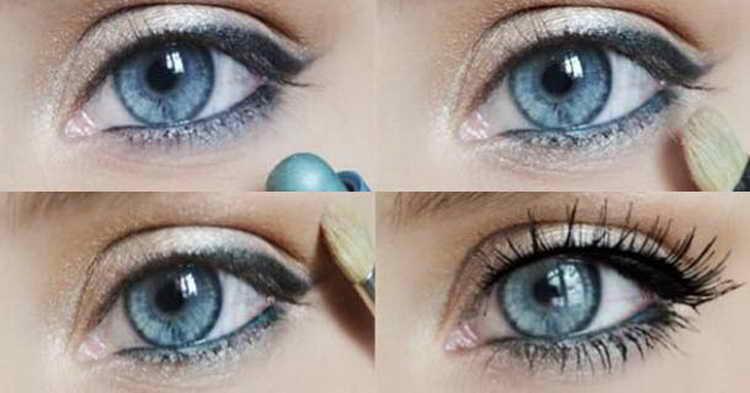 Дневной макияж для женщин с голубыми глазами.