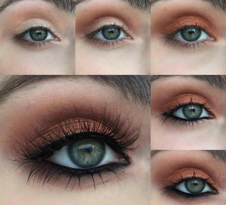 макияж для зеленых глаз контрастный