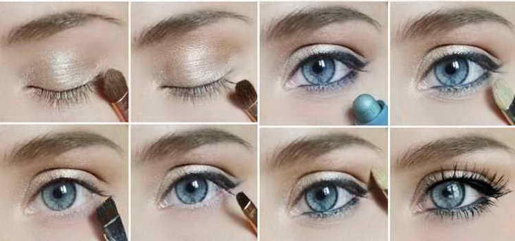 нежный слегка заметный макияж голубых глаз